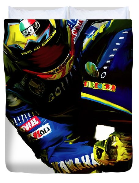 Valentino Rossi  Corner Speed Duvet Cover by Iconic Images Art Gallery David Pucciarelli