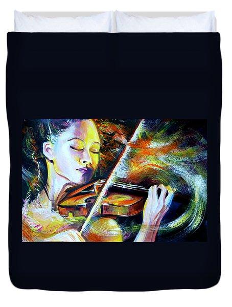 Vanessa-mae.power Of Music Duvet Cover by Anna  Duyunova