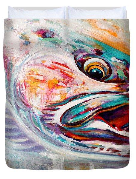Vanishing Native - Steelhead Trout Flyfishing Art Duvet Cover by Savlen Art