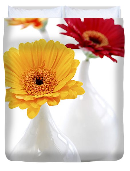 Vases with Gerbera flowers Duvet Cover by Elena Elisseeva