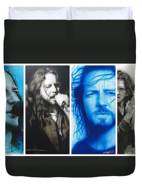 Eddie Vedder - ' Vedder Mosaic I ' Duvet Cover by Christian Chapman Art