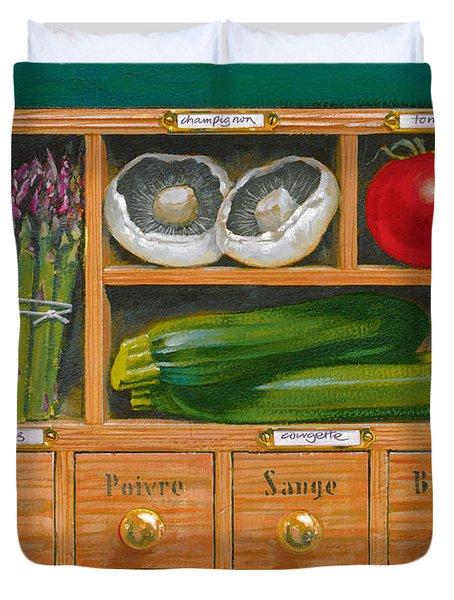 Vegetable Shelf Duvet Cover by Brian James