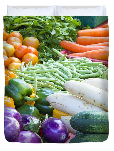 Vegetables Stand In Wet Market Duvet Cover by JPLDesigns