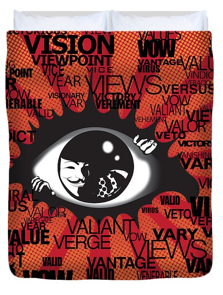 Vendetta Typography Duvet Cover by Sassan Filsoof