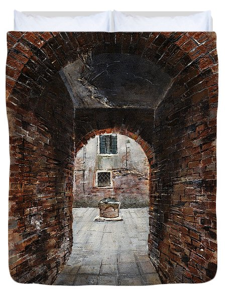 Venetian Courtyard 01 Elena Yakubovich Duvet Cover by Elena Yakubovich