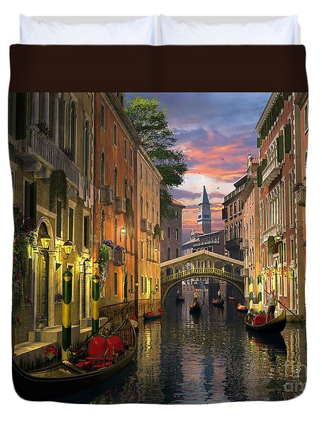 Venice At Dusk Duvet Cover by Dominic Davison