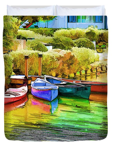 Venice Canoes Duvet Cover by Chuck Staley