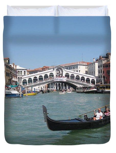 Venice Gondolier Duvet Cover by John Malone