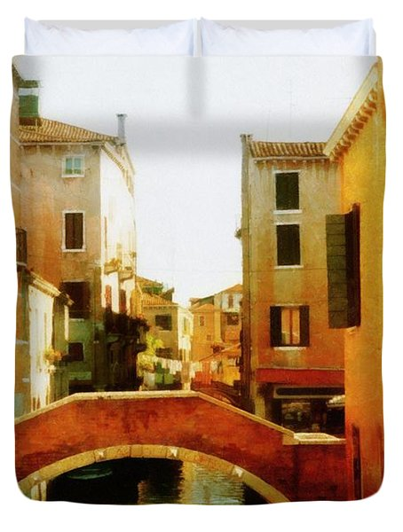 Venice Italy Canal with Boats and Laundry Duvet Cover by Michelle Calkins