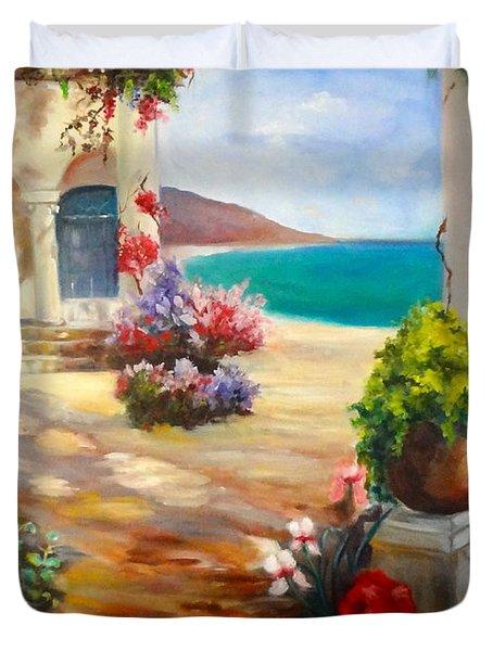 Venice Villa Duvet Cover by Jenny Lee