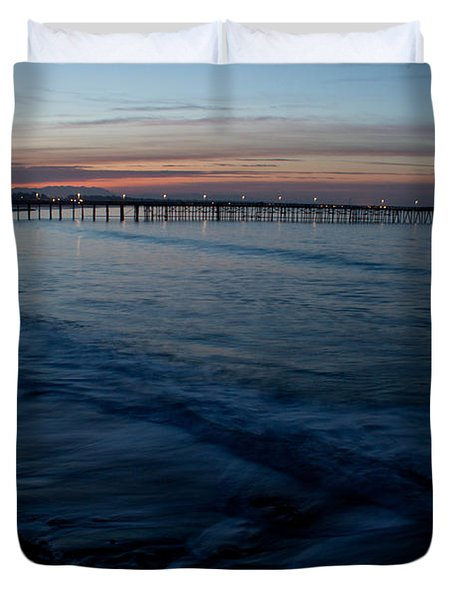 Ventura Pier Sunrise Duvet Cover by John Daly