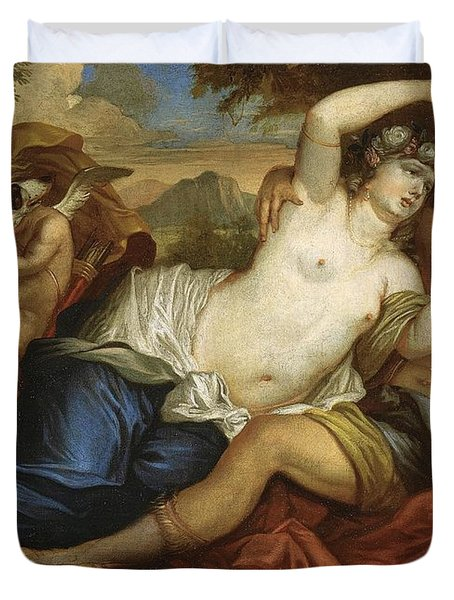 Venus And Adonis Duvet Cover by Jan Boeckhorst