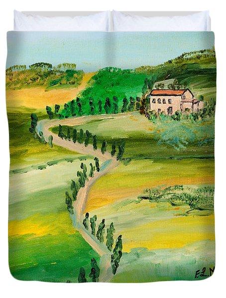 Verde Sentiero Duvet Cover by Loredana Messina