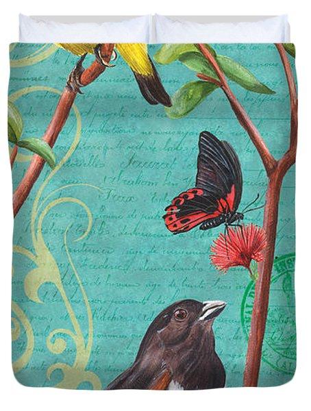 Verdigris Songbirds 2 Duvet Cover by Debbie DeWitt