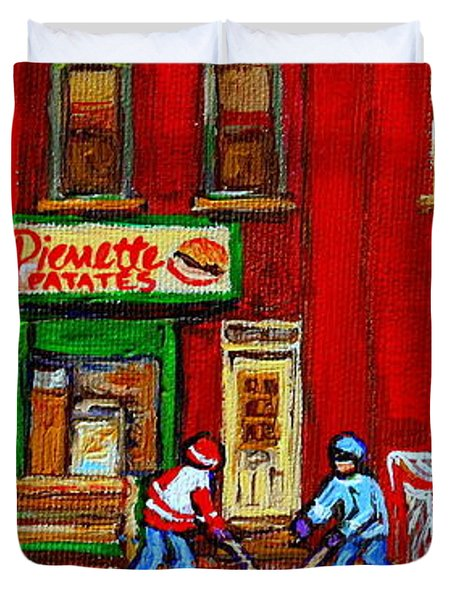 VERDUN ART WINTER STREET SCENES PIERRETTE PATATES RESTO HOCKEY PAINTING VERDUN MONTREAL MEMORIES Duvet Cover by CAROLE SPANDAU