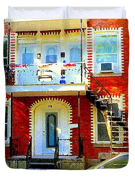 Verdun City Street Triplex Apartment Outdoor Winding Stairs Montreal Scenes Primary Colors C Spandau Duvet Cover by Carole Spandau