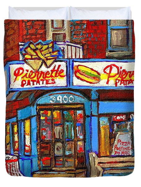 Verdun Famous Restaurant Pierrette Patates - Street Hockey Game At 3900 Rue Verdun - Carole Spandau Duvet Cover by Carole Spandau