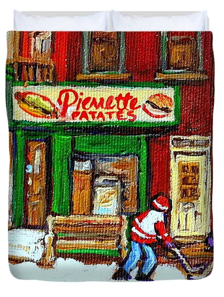 VERDUN HOCKEY GAME CORNER LANDMARK RESTAURANT DEPANNEUR PIERRETTE PATATE WINTER MONTREAL CITY SCEN Duvet Cover by CAROLE SPANDAU