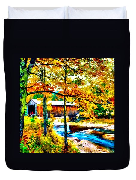 Vermont Covered Bridge Duvet Cover by Bob and Nadine Johnston