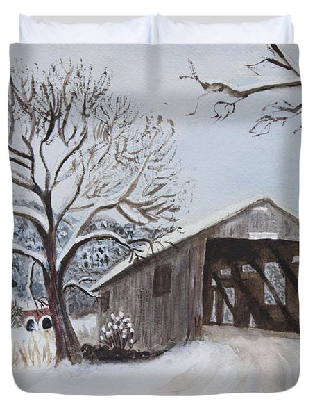 Vermont Covered Bridge In Winter Duvet Cover by Donna Walsh