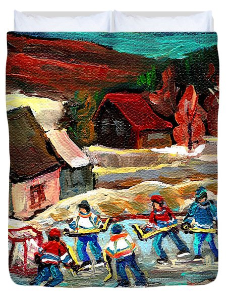 VERMONT POND HOCKEY SCENE Duvet Cover by CAROLE SPANDAU
