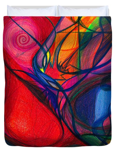 Vibrational Heart Healing - Sounds of Radiant Joy ' Purity of Heart ' Soul ' Mind and Body Aligned Duvet Cover by Daina White