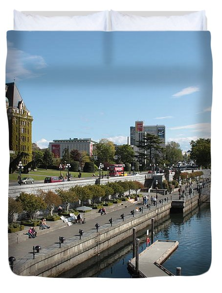 Victoria Harbour With Empress Hotel Duvet Cover by Carol Groenen