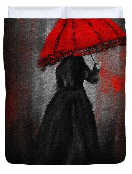 Victorian Lady With Parasol Duvet Cover by Lourry Legarde