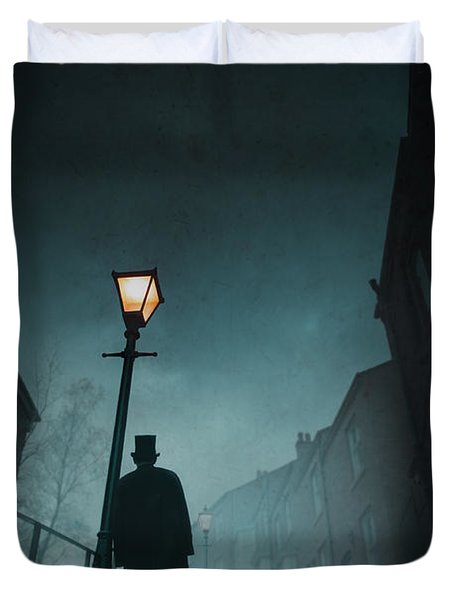 Victorian Man With Top Hat Leaning On A Street Light Duvet Cover by Lee Avison