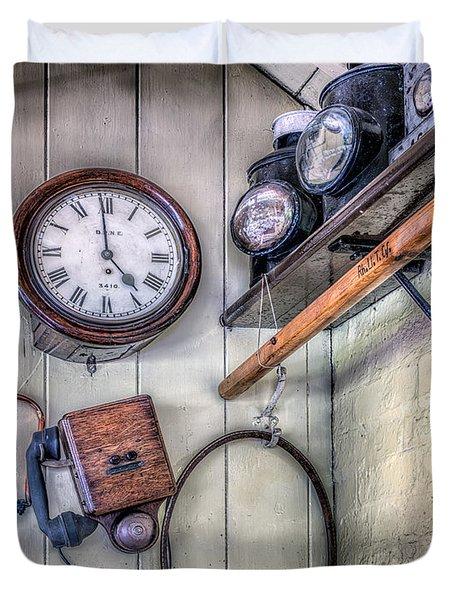 Victorian Train Memorabilia Duvet Cover by Adrian Evans