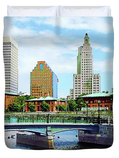 View From Waterplace Park Providence Ri Duvet Cover by Susan Savad