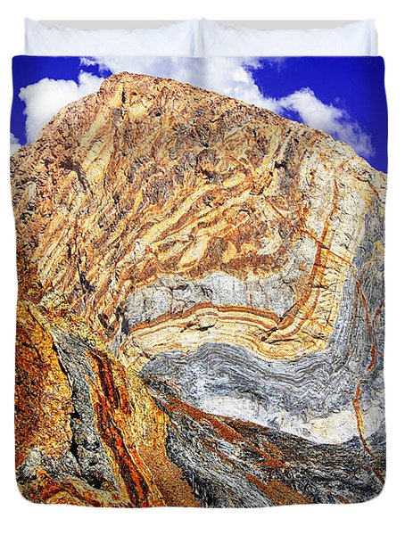 View Of Cliffs From Convict Lake Duvet Cover by Bob and Nadine Johnston