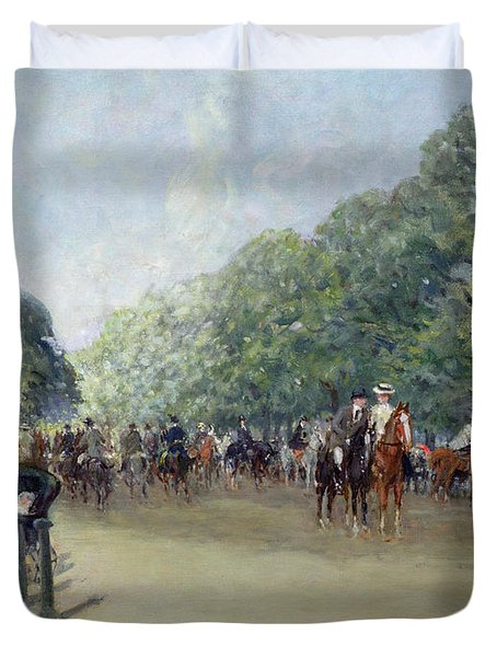 View Of Hyde Park With Figures On Rotten Row  Duvet Cover by Albert Jnr Ludovici