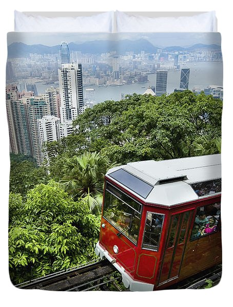 View Of Peak Tram Arriving At The Top Duvet Cover by Axiom Photographic