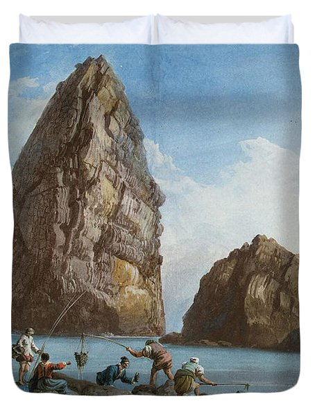 View Of The Rocks On The Third Island Of Cyclops Duvet Cover by Jean-Pierre-Louis-Laurent Houel