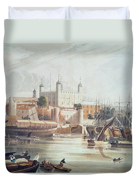 View Of The Tower Of London Duvet Cover by John Gendall