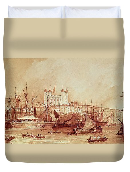 View Of The Tower Of London Duvet Cover by William Parrott