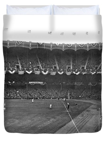 View Of Yankee Stadium Duvet Cover by Underwood Archives