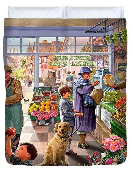 Village Greengrocer  Duvet Cover by Steve Crisp