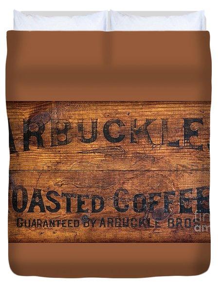 Vintage Arbuckles Roasted Coffee Sign Duvet Cover by John Stephens