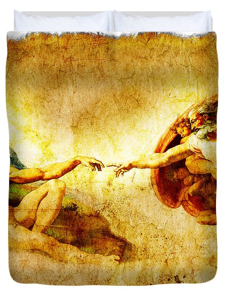 Vintage Art - The Creation Of Adam Duvet Cover by Stefano Senise