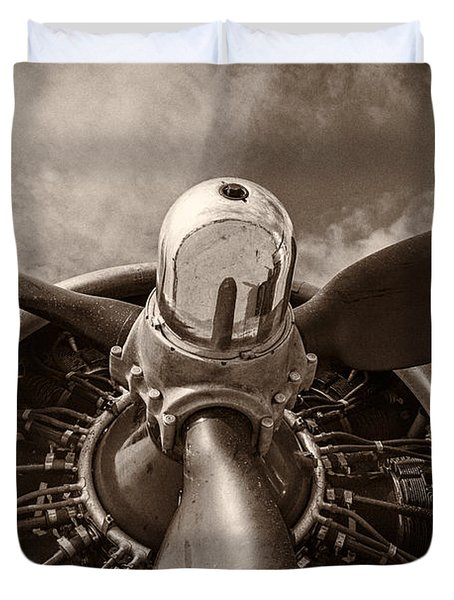 Vintage B-17 Duvet Cover by Adam Romanowicz
