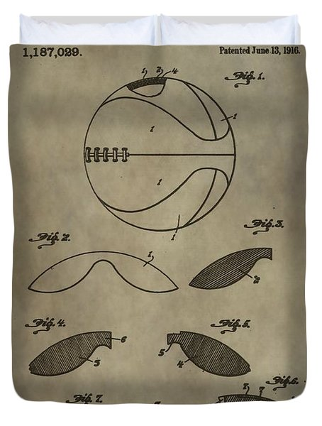 Vintage Basketball Patent Duvet Cover by Dan Sproul