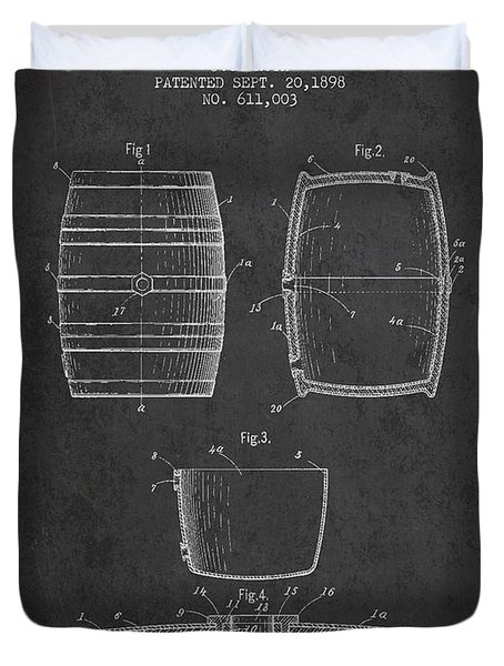 Vintage Beer Keg Patent Drawing From 1898 - Dark Duvet Cover by Aged Pixel