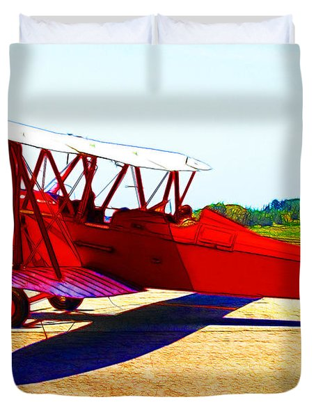 Vintage Biplane - 7d15525 - Color Sketch Style Duvet Cover by Wingsdomain Art and Photography