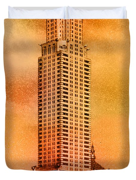 Vintage Chrysler Building Duvet Cover by Andrew Fare