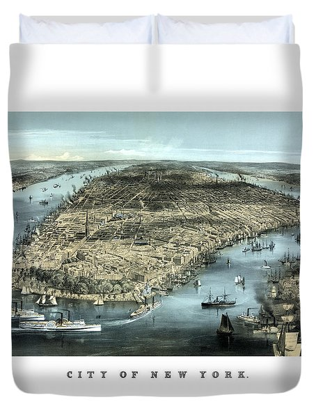 Vintage City Of New York Duvet Cover by War Is Hell Store