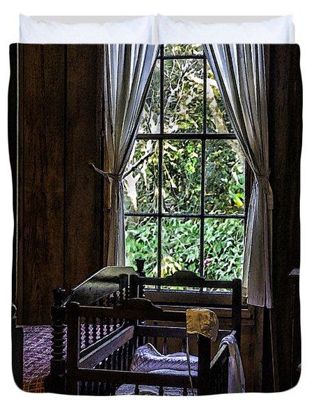 Vintage Crib And Bedroom Duvet Cover by Lynn Palmer
