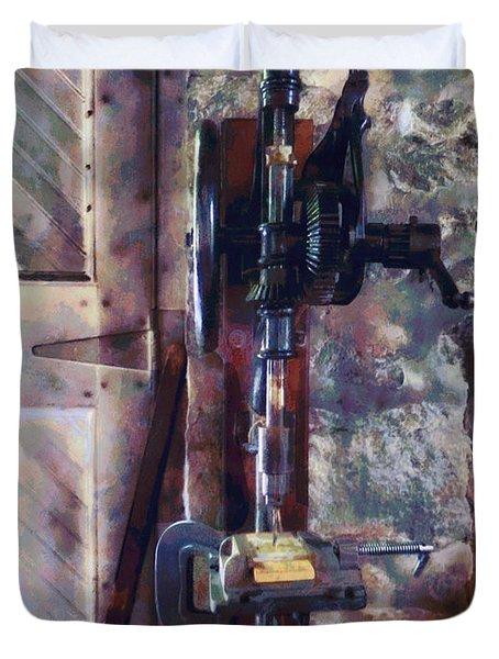 Vintage Drill Press Duvet Cover by Susan Savad