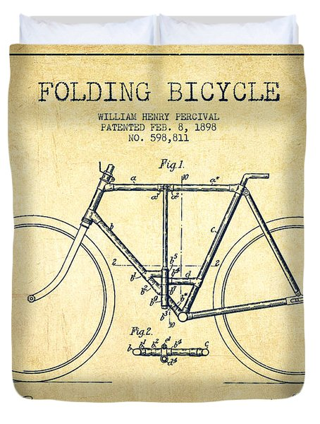 Vintage Folding Bicycle Patent From 1898 - Vintage Duvet Cover by Aged Pixel